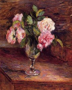 Roses in a Glass, 1877 by Camille Pissarro. Impressionism. flower painting. Private Collection