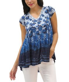 Look what I found on #zulily! Indigo Floral Mellie Top by Caite #zulilyfinds