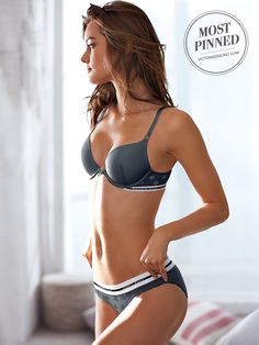Cute, sexy, cool: this push-up has it ALL on lock with a sporty logo and little dots. | Victoria's Secret Push-Up Bra