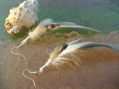 Feather Earrings Neutral colors Everday by SeagullSmithJewelry, $10.00