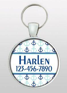 Dog ID Tag - Pet ID Tag - Pet I.D. Tag - Nautical Dog Tag - Blue Anchors Dog Tag - Boating Enthusiast Dog Tag - Design No. 256