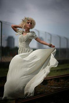 ea44fcf8917 Green chiffon 1940 s inspired wedding gown