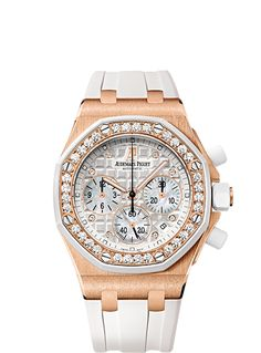 Selfwinding chronograph with date display and small seconds at 6 o'clock. 18-carat pink gold case, silvered dial, white strap. 32 brilliant-cut diamonds, ~1.25 carats.