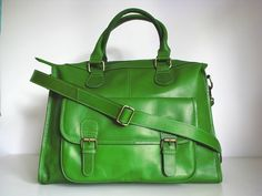 green leather weekend bag by the leather store | notonthehighstreet.com