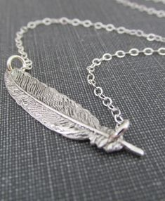 Feather Necklace Sterling Silver Silver by pinkingedgedesigns