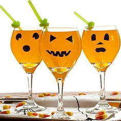 DIY: pumpkin glasses - the basics of this idea could certainly be applied to other holiday designs