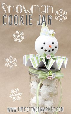 Snowman Cookie Mason Jar DIY and Recipe