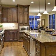 Walnut cabinets and oak floors
