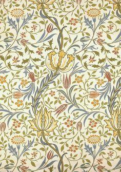 William Morris, Flora wallpaper. Block-printed paper (1891)