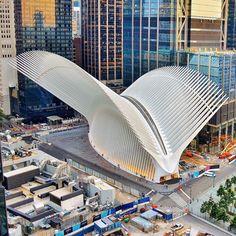 The Oculus Santiago Calatrava New York Architecture, Futuristic Architecture, Beautiful Architecture, Architecture Details, Chinese Architecture, Architecture Office, World Trade Center, Santiago Calatrava, Amazing Buildings
