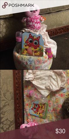 Owl dress diaper cake Owl plush blanket 2 pieces dress set Owl bottle Owl nail clippers Owl book Stuff Ty owl Diapers  Wrap in plastic with ribbon Other