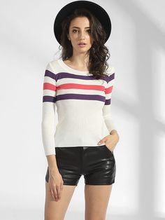 ebcb8a34568567  AdoreWe  FashionMia Sweaters - FashionMia Round Neck Worsted Striped  Sweater - AdoreWe.com