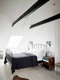 Light attic bedroom- love it!!!