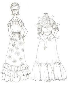 Lisa Perrin: Frida Kahlo boneca de papel