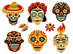 Mexican Skull Tattoos, Mexican Skulls, Mexican Art, Sugar Skull Costume, Sugar Skull Art, Skull Girl Tattoo, Skull Tattoo Design, Skull Illustration, Ink Illustrations