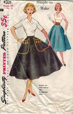 1950s Simplicity 4301 Vintage Sewing Pattern by midvalecottage Skirt  Patterns Sewing 519bf6a1e