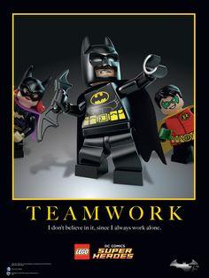 """I don't believe in it, since I always work alone."" - #LEGOBatman #Batman75thAnniversary #LEGO #Batman #DCcomics #TheLEGOMovie"