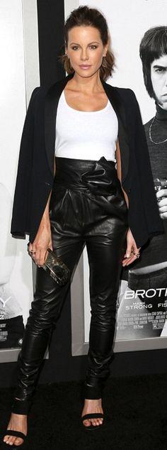 Kate Beckinsale: Shirt and pants – Vionnet  Purse – Lee Savage  Jacket – Cristiano Burani  Earrings – Borgioni  rings – Le Vian