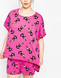 Изображение 3 из Пижамный комплект из футболки и шорт ASOS CURVE