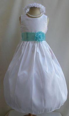 Flower Girl Dress WHITE w/ Blue Aqua JC Wedding by LuuniKids