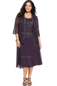 A-Line/Princess Scoop Tea-length Lace Chiffon Mother of the Bride Dress