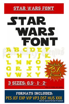 Star Wars Embroidery Font Monogram 62 Designs by EmbroideryGenius