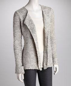 & Co. Heather Gray Basket-Weave Open Cardigan by American Vintage and & Co.