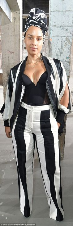 Alicia Keys at Rick Owens show during Paris Fashion Week | ... so hard to find famous women who are not wearing make-up, make-up, make-up ...