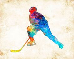 """Watercolor Hockey Forward"" is a Signed Art Print from the original illustration of Artist Dan Morris.   The artwork is featured on giftware, stationery, and fabrics.    Dan Morris is known for his stylized, realistic illustration and use of bold colors.   Brighten up any wall space in your home or office with this stunning art print hand signed by the artist.    •Premium  Heavyweight Fine Art matte paper, acid free, and printed with Archival inks.    • Signed by the Artist.    *Available…"
