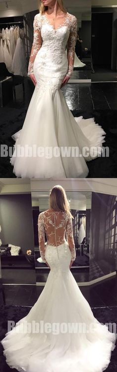 Long Sleeves Seen Through Back Mermaid Charming Long Wedding Dresses, BGW012 #wedding #weddingdress #bride #bridedress #bridaldress #laceweddingdress #weddingdresses