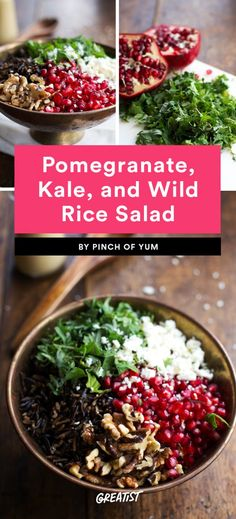Pomegranate, Kale, and Wild Rice Salad Wild Rice Recipes, Rice Salad Recipes, Salad Dressing Recipes, Winter Salad Recipes, Pomegranate Recipes Healthy, Pomegranate Salad, Vegetarian Recipes, Cooking Recipes, Healthy Recipes