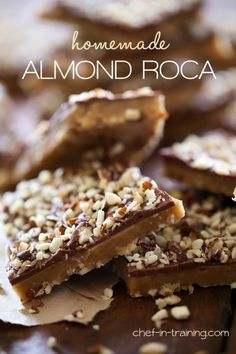 Homemade Almond Roca from chef-in-training.com …This candy is SO easy to make at home and tastes just like the real thing!