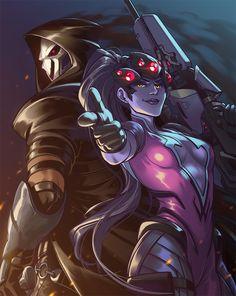 Fatale Overwatch, Overwatch Reaper, Overwatch Widowmaker, Overwatch Fan Art, Overwatch Drawings, Faucheur Overwatch, Cyberpunk, Overwatch Pictures, Science Fiction Art