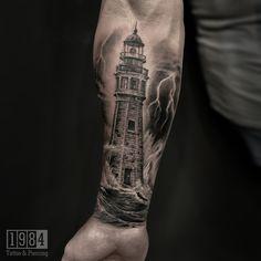 Rose Tattoos, Lighthouse, Skull, Studio, Artist, Bell Rock Lighthouse, Light House, Artists, Lighthouses