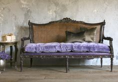 One of a Kind Vintage Shabby Cane Louis XVI French Style Settee Purple Velvet