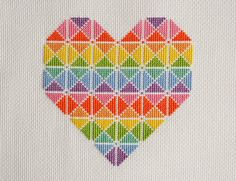 Thank you for visiting!  Available here is this original cross stitch chart which will be made available to you immediately after purchase. Youll be able to download and keep the file.  This colourful geometric heart uses whole cross stitches only. I suggest you use 14 count Aida for the best effect. When stitched it will measure 12.9 cm x 12.7 cm or 5 x 5 inches.  Included within the PDF file is the professionally designed chart and symbol key for DMC threads including approximate usage…