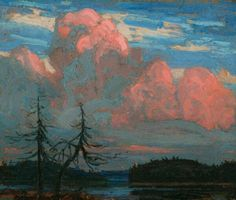 Tom Thomson, Sunset, Algonquin Park, 1916 - Art Gallery of Ontario Group Of Seven Artists, Group Of Seven Paintings, Paintings I Love, Emily Carr, Canadian Painters, Canadian Artists, Landscape Art, Landscape Paintings, Creative Landscape