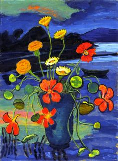 Gabrielle Münter Floral Still LIfe in front of a Landscape 1934-1945 Private collection Painting - oil on cardboard Height: 45 cm (17.72 in.), Width: 33 cm (12.99 in.)