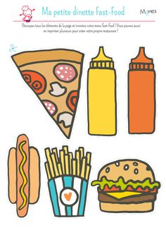 Take a look at Momes' kids's paper dinette! Create your fast-food menu: burger, scorching canine or pizza, with sauce and fries. Menu Fast Food, Pretend Kitchen, English Activities, Toddler Activities, Food Pyramid, Menu Restaurant, Best Teacher, Types Of Food, Quick Meals