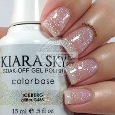 Kiara Sky recently launched a new collection called Mirror Image that is comprised of 14 new colors! Kiara Sky is a gel polish (base coat is o… Sky Nails, Sparkle Nails, Love Nails, Glitter Nails, How To Do Nails, Pretty Nails, Glitter Gel Polish, Gel Nail Polish, French Nails