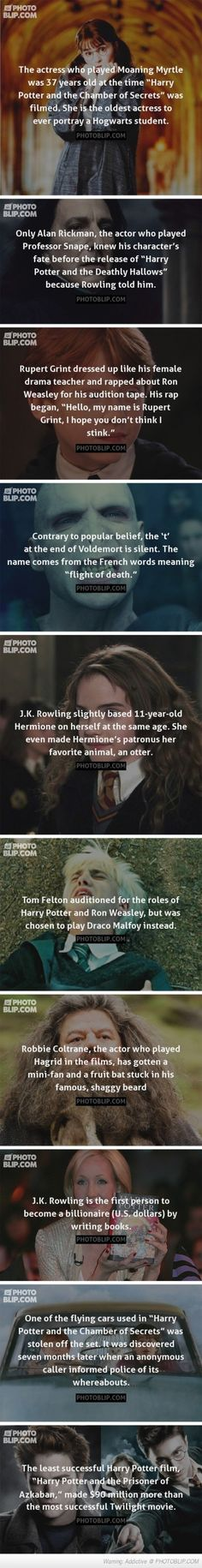 Harry Potter Facts. The last fact makes this pin even more worth it haha