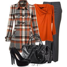 """""""Orange, Gray, and Black"""" by styleofe on Polyvore"""