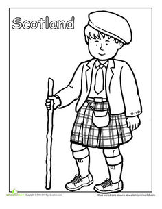 Second Grade Coloring Worksheets: Scottish Traditional Clothing Coloring Page Detailed Coloring Pages, Free Coloring Pages, Coloring Books, Coloring Worksheets, Around The World Theme, Around The Worlds, Harmony Day, Coloring Sheets For Kids, Kids Coloring