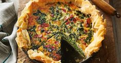 Serve up a slice of this family-friendly spinach and bacon quiche made with buttery, filo pastry.