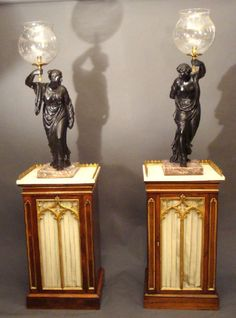 Pair of Regency Figures on stands - Stock - Moxhams Antiques