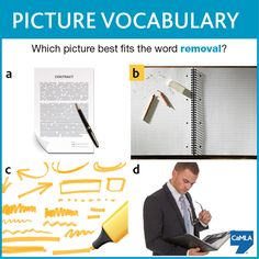 """The answer is B. Erasing is a way of removing something. The other options involve words or writing, but not the removal of material. Try using """"remove"""", """"removal"""", or """"removing"""" in a sentence."""