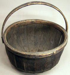 Antique Large Wooden Grain Basket...