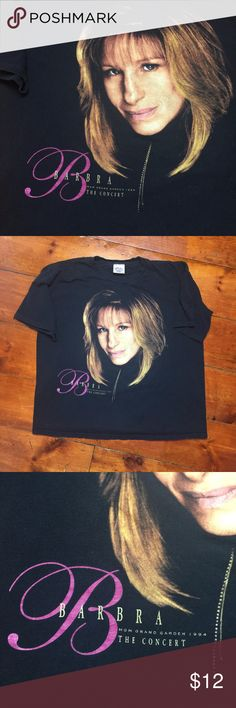 1994 Barbra Streisand Concert Vintage Tee Size XL Size XL (vintage sizing)  No stains. No issues  9/10 condition (due to very minimal sign of use).  Measurements: (Please note that all measurements are taken while garment is lying flat, unless otherwise stated. Please also +/-.25 inches on all measurements) Bust: 24.25 inches Sleeves: 8.5 inches Length (from very top of garment to the bottom hem of the garment): 27.25 inches Crystal Mills Tops Tees - Short Sleeve
