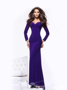 Sheath / Column Sweetheart Sweep / Brush Train Ruffles Chiffon Evening Dresses dress  #purple prom dresses  #cheap prom dresses online
