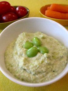 Edamame Hummus  (Makes 2 1/2 Cups)	      Total Time: 1 minutes,  Ingredients      2 cups edamame, hulled (i use frozen and defrost it)     2 tablespoons tahini     juice of 1 small lemon     1/4 cup water     1 small clove garlic     3 tablespoons olive oil     1/2 teaspoon salt     1/2 teaspoon cumin